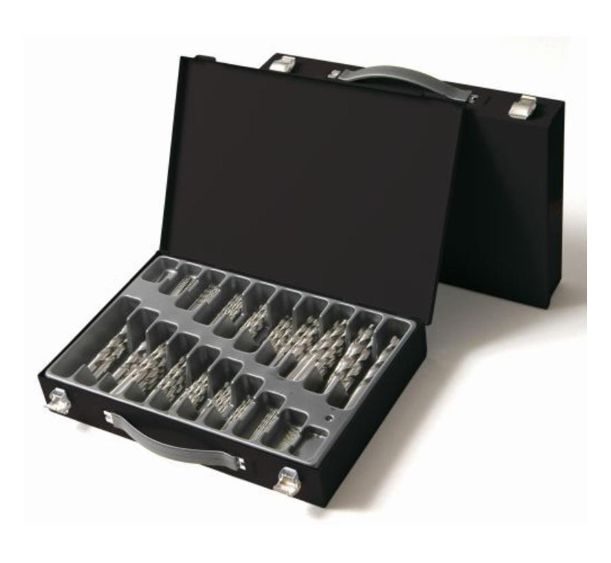 metaalborenset 170-delig | 1.0 mm t/m 10.0 mm per halve mm oplopend | stevige metalen kist