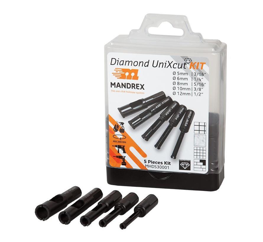 De Mandrex gesinterde gatzagen met diamant grit gaan extreem lang mee en zijn perfect voor het boren in tegels en steen.