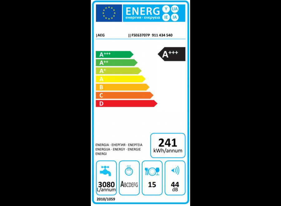 AEG FSE63707P Inbouw Vaatwasser volledig integreerbaar