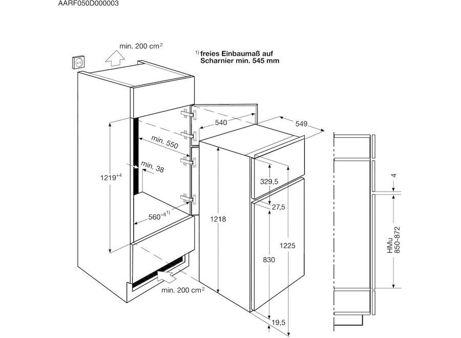 AEG SDS51200S1 Inbouw koelkast 122 cm met vriesvak