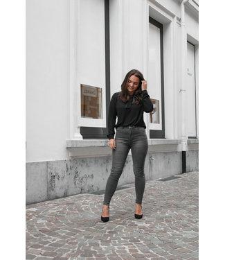 Grijze high waist jeans