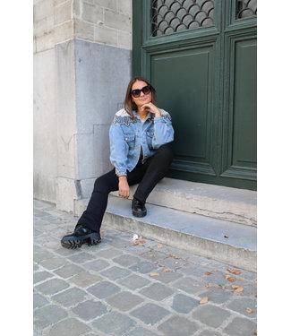 Jeans vest met parel detail