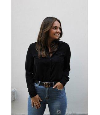 Zwarte blouse met zakken