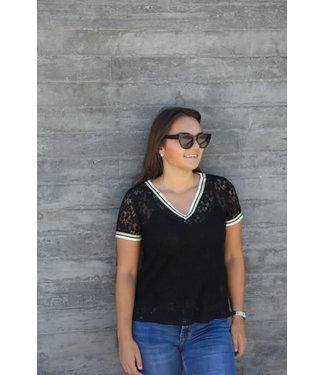 Zwarte kanten t-shirt