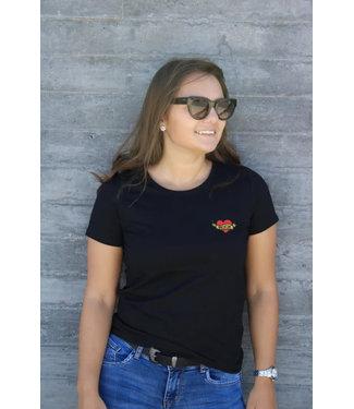 Zwarte heart of rock t-shirt