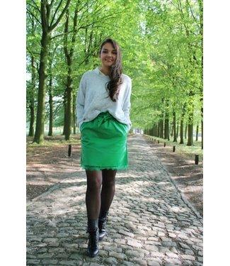 Groen leather look rokje