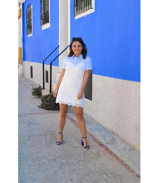 Blauw/witte kanten jurk