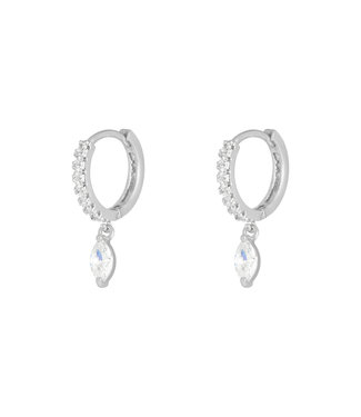 Silver Zircon Drop Earhoops