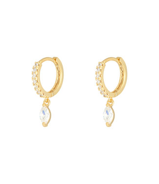 Gold Zircon Drop Earhoops
