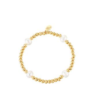 Bracelet Big Pearl Mix - Gold