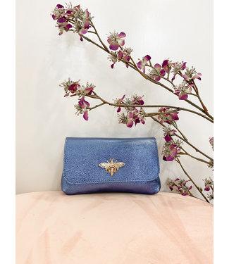 Blauw shiny bee handtasje