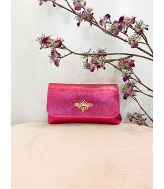 Fuchsia shiny bee handtasje