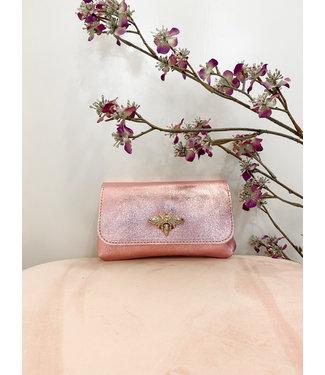 Roze shiny bee handtasje
