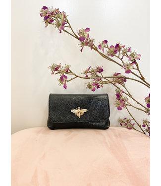 Zwart shiny bee handtasje