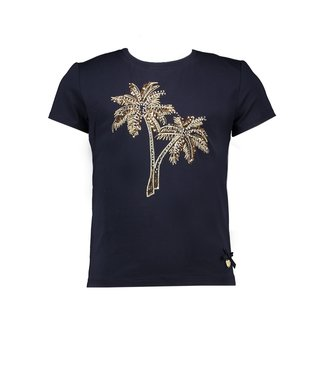 Le Chic Navy T-shirt palmtree embroidery
