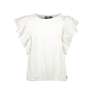 Like Flo Off white Jersey Broidery Anglais ruffle top
