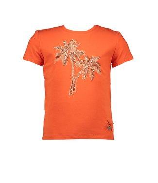 Le Chic Orange T-shirt palmtree embroidery
