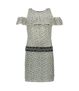 Like Flo Animal jersey ruffle dress with belt