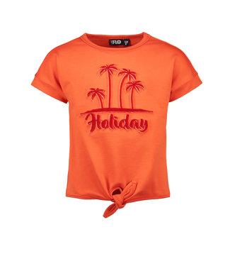 Like Flo Orange holiday knotted t-shirt