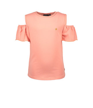 Like Flo Bubblegum Jersey open shoulder top