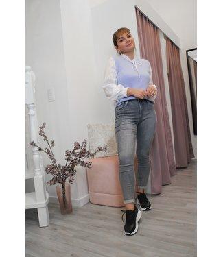 Grijze bottom-up skinny jeans