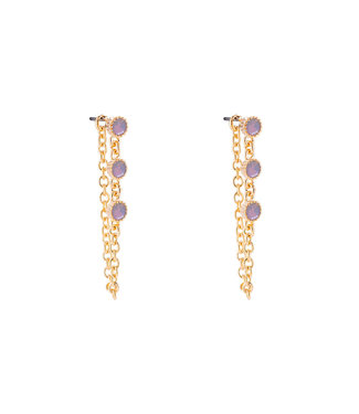 3 Diamonds Chain Plated Earring - Gold
