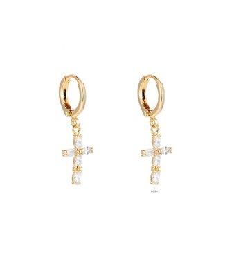Crystal Cross Plated earhoop - Gold