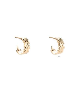 Leaf Curve Stainless Steel earhoop - Gold