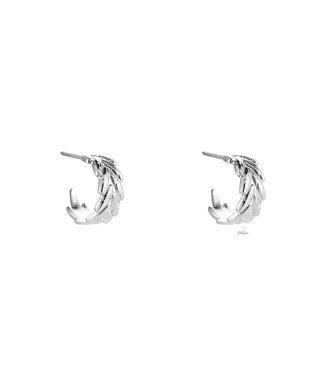 Leaf Curve Stainless Steel earhoop - Silver