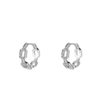 Lock Lock With Crystal Plated earhoop - Silver