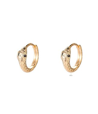 Round Snake Gold Plated earhoop - Gold