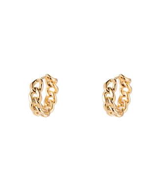 Simple Chain Lock Plated earhoop - Gold