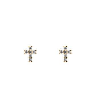 Dedicated Cross Earstud - Goud
