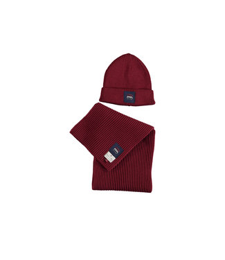 Knitted hat and scarf - Bordeaux