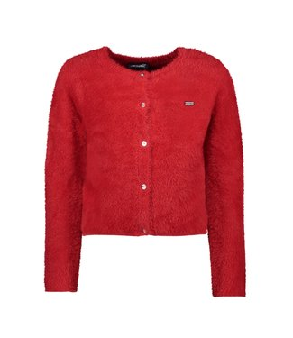 Alice fluffy knit cardigan - Red