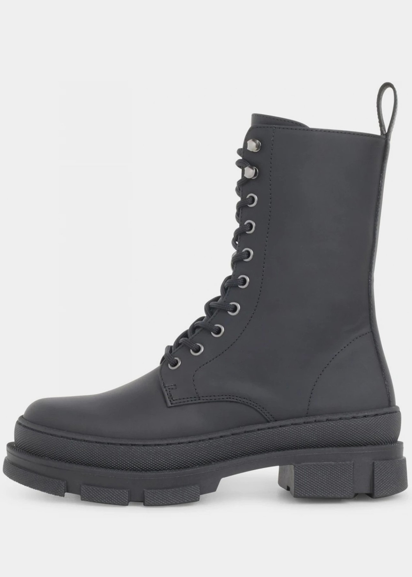 Garment Project Lucy Boot - Black Rubberish Leather