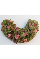 halve urnekrans met fijne rozen en hortensia