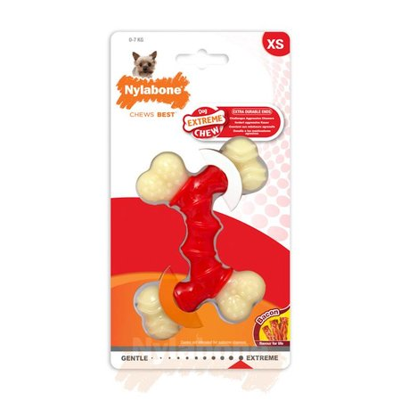 Nylabone Power Chew Double Bone  Bacon Maat XS