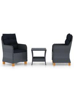 3-tlg. Garten-Lounge-Set mit Auflagen Poly Rattan Dunkelgrau