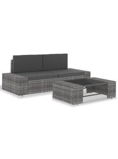 3-tlg. Garten-Lounge-Set Poly Rattan Grau