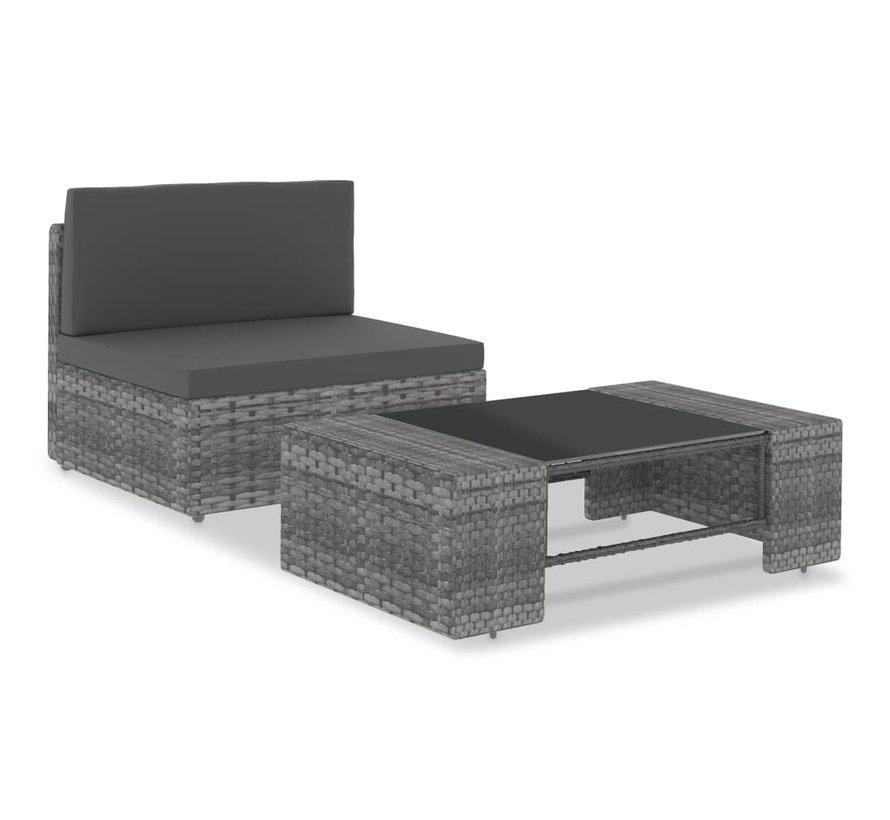 2-tlg. Garten-Lounge-Set Poly Rattan Grau