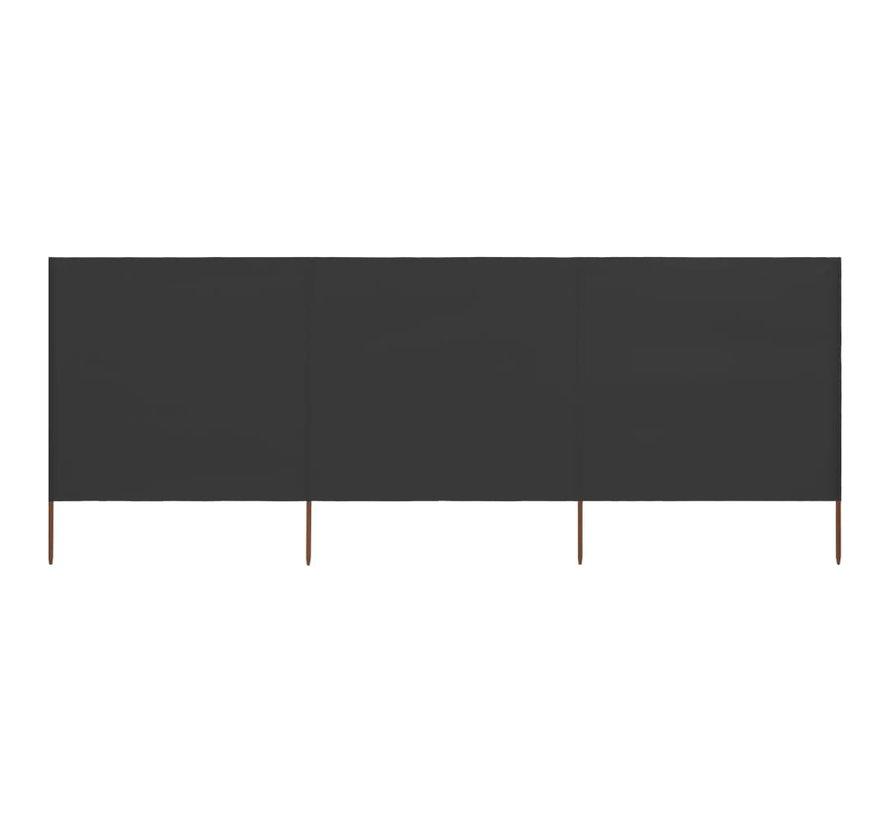 3-teiliges Windschutzgewebe 400 x 80 cm Anthrazit