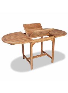 Ausziehbarer Gartentisch (110-160)x80x75 cm Massivholz Teak