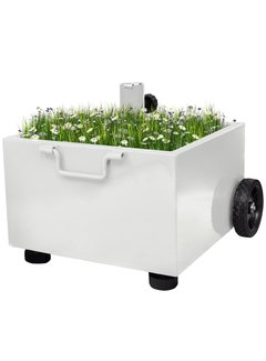 Bepflanzbarer Sonnenschirmständer Blumentopf Weiß