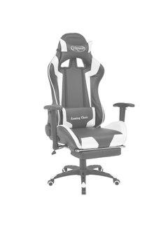 Bürostuhl Gaming-Stuhl Neigbar mit Fußstütze Weiß