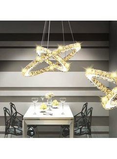 LED Kristall Pendelleuchte Deckenleuchte Doppelring-Form 23,6 W