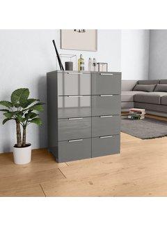 Sideboard Hochglanz Grau 60×35×76 cm Spanplatte