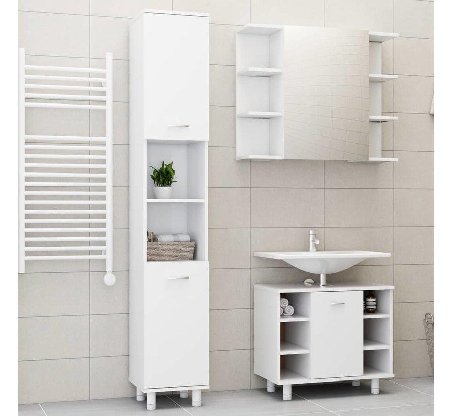 3-tlg. Badmöbel-Set Weiß Spanplatte