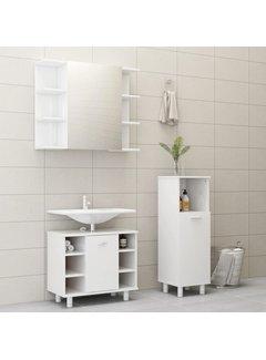 3-tlg. Badmöbel-Set Hochglanz-Weiß Spanplatte