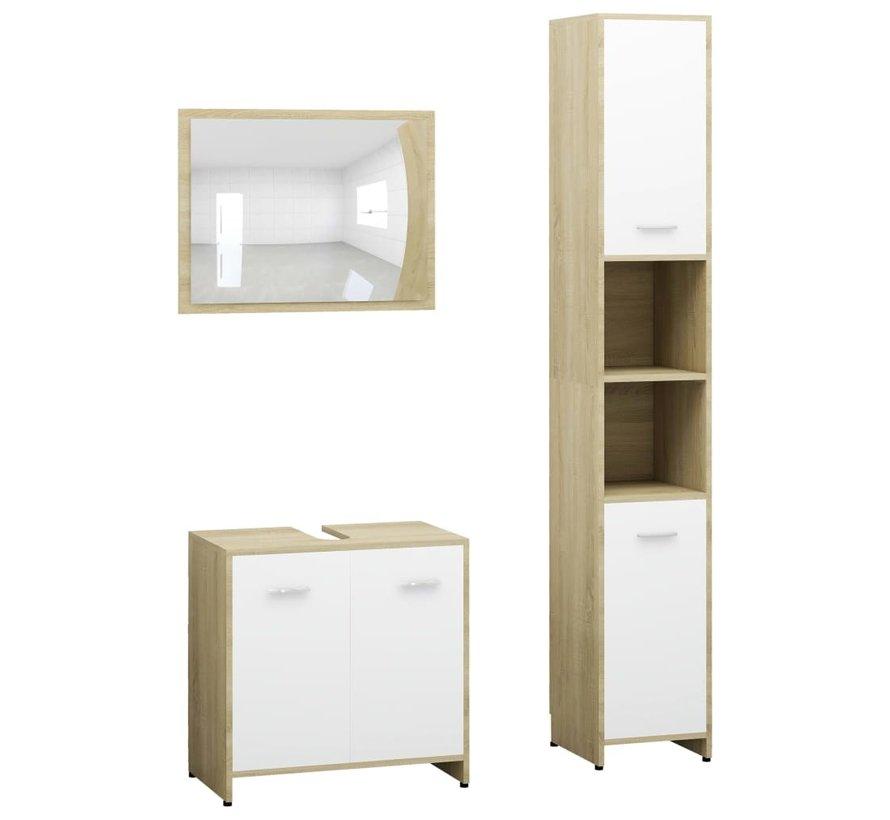 3-tlg. Badmöbel-Set Weiß und Sonoma-Eiche Spanplatte
